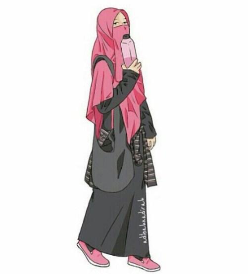 Gambar Sketsa Kartun Muslimah Bercadar Bingkaigambar