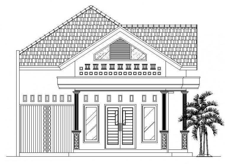 Contoh Gambar Sketsa Rumah Sederhana