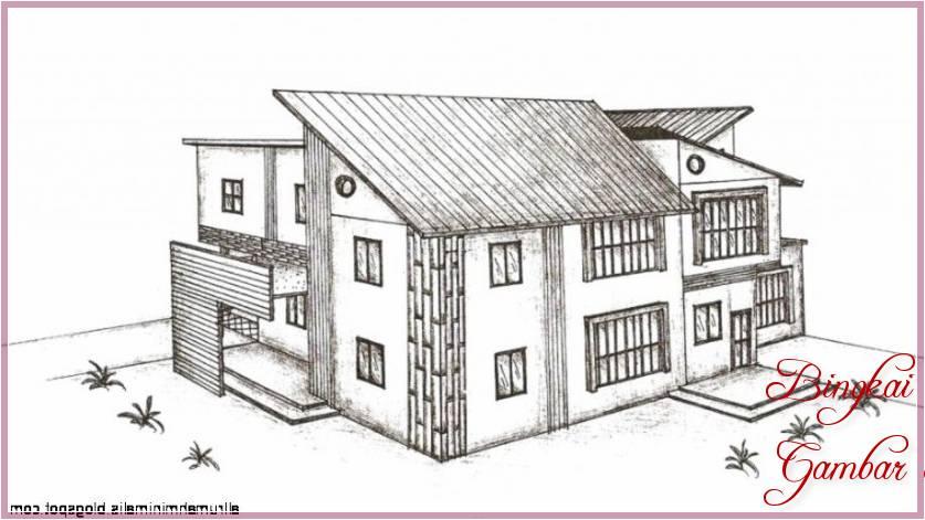 Contoh Gambar Sketsa Rumah Tampak Depan
