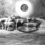 Contoh Sketsa Gambar Pemandangan Air Terjun