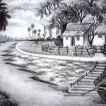 Contoh Sketsa Gambar Pemandangan Desa Yang Indah