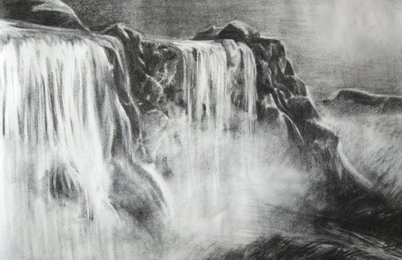 Contoh Sketsa Pemandangan Air Terjun