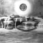 Contoh Sketsa Pemandangan Alam Hitam Putih