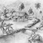 Contoh Sketsa Pemandangan Desa