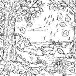 Contoh Sketsa Pemandangan Hutan