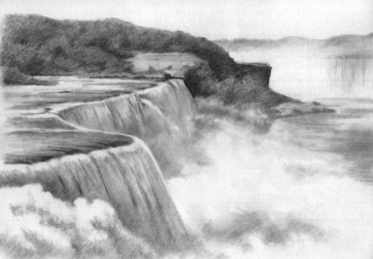 Foto Sketsa Pemandangan Air Terjun