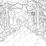 Foto Sketsa Pemandangan Hutan