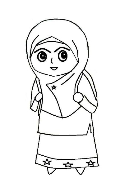 Gambar Sketsa Anak Muslimah