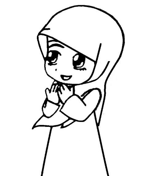 Gambar Sketsa Animasi Muslimah