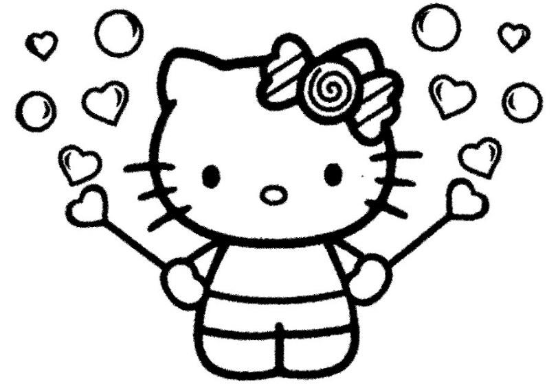 Gambar Sketsa Boneka Hello Kitty