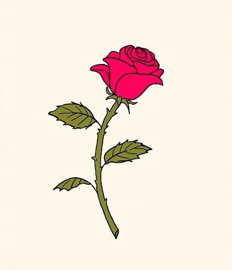 Gambar Sketsa Bunga Mawar Kuncup