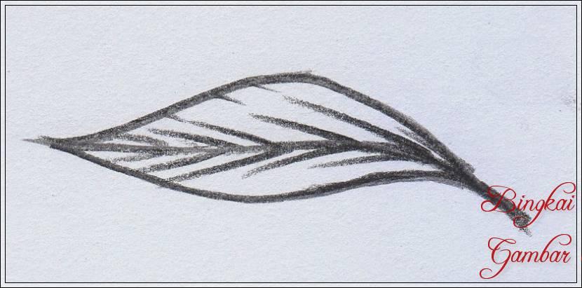 Gambar Sketsa Daun Dengan Pensil