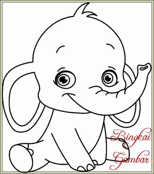 Gambar Sketsa Gajah Lucu