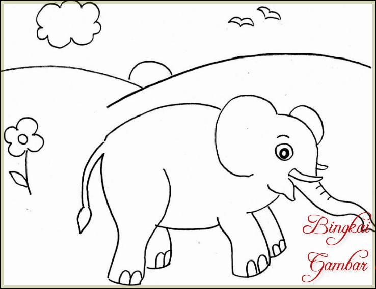 Gambar Sketsa Gajah Mudah