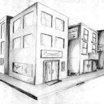 Gambar Sketsa Gedung Perkotaan
