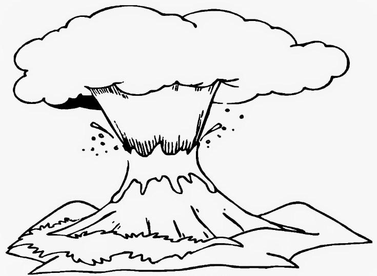 Gambar Sketsa Gunung Berapi