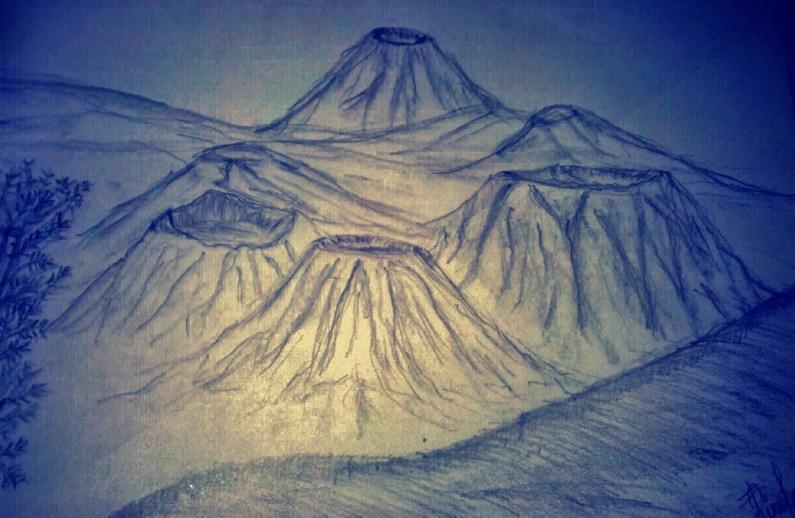 Gambar Sketsa Gunung Bromo