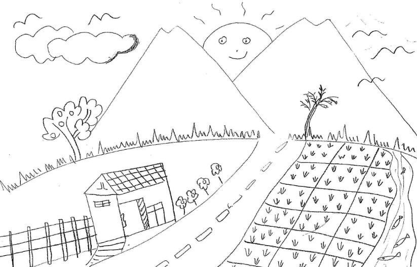 Gambar Sketsa Gunung Dan Sawah