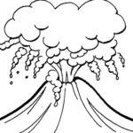 Gambar Sketsa Gunung Meletus