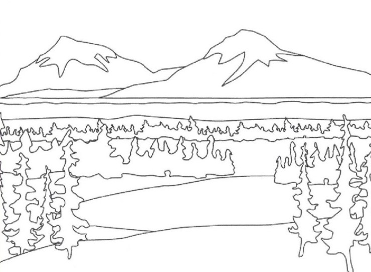 Gambar Sketsa Gunung Yang Mudah