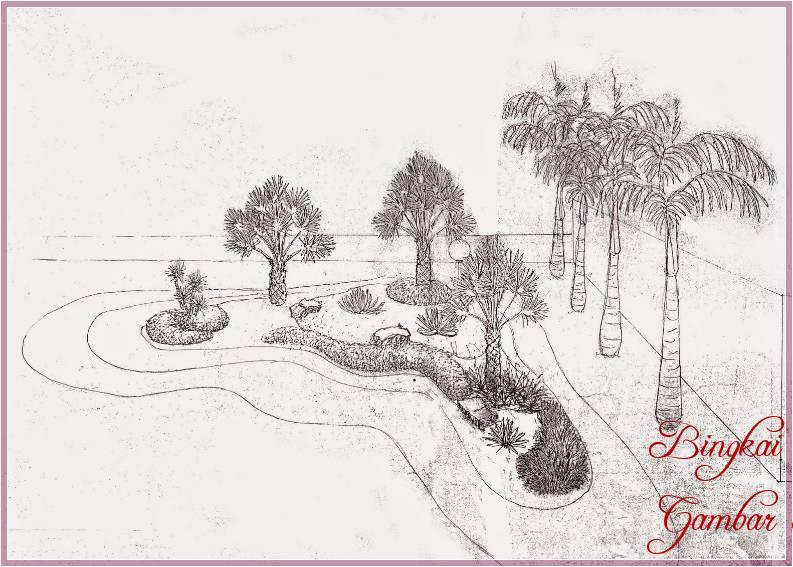 Gambar Sketsa Halaman Depan Rumah