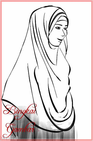 Gambar Sketsa Kartun Hijab