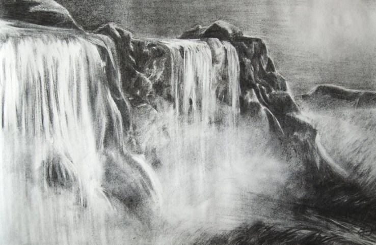 Gambar Sketsa Lukisan Air Terjun
