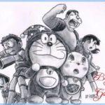 Gambar Sketsa Lukisan Doraemon