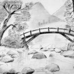 Gambar Sketsa Lukisan Pegunungan