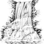 Gambar Sketsa Lukisan Pemandangan Air Terjun