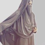 Gambar Sketsa Muslimah Bercadar