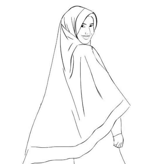 Gambar Sketsa Muslimah Cantik