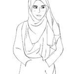 Gambar Sketsa Muslimah Simple