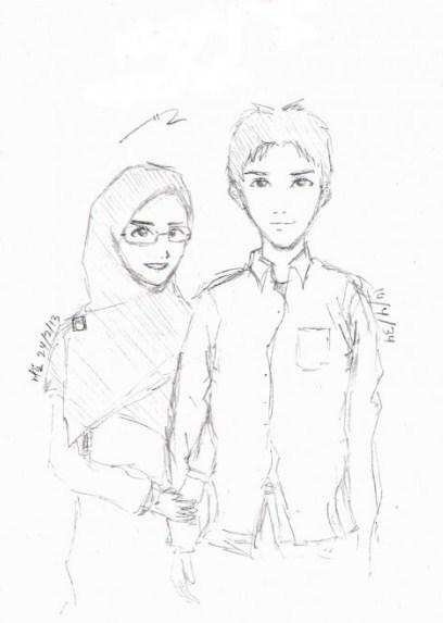 Gambar Sketsa Pasangan Muslim