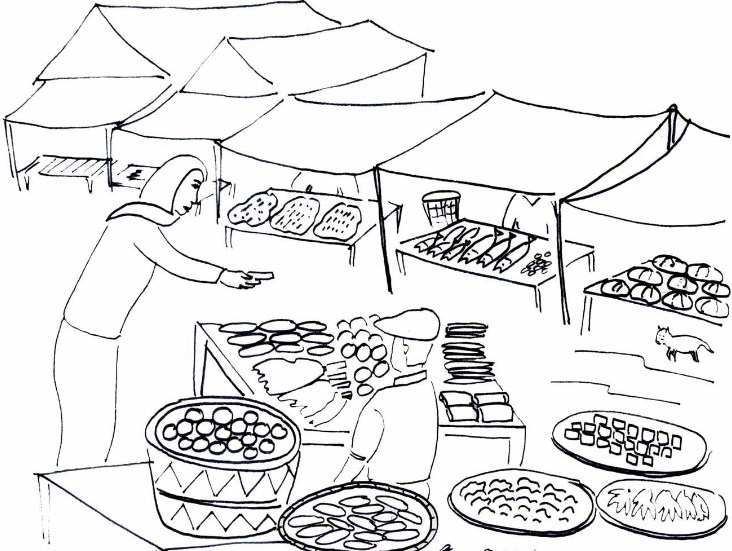 Gambar Sketsa Pasar Sederhana