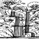 Gambar Sketsa Pemandangan Air Terjun