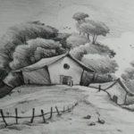 Gambar Sketsa Pemandangan Alam Desa