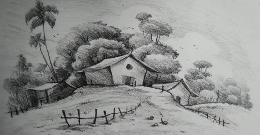 35+ Gambar Sketsa Pemandangan Sederhana, Desa Dan Pantai ...