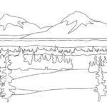 Gambar Sketsa Pemandangan Alam Gunung