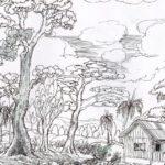 Gambar Sketsa Pemandangan Alam Hutan