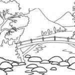 Gambar Sketsa Pemandangan Alam Pegunungan