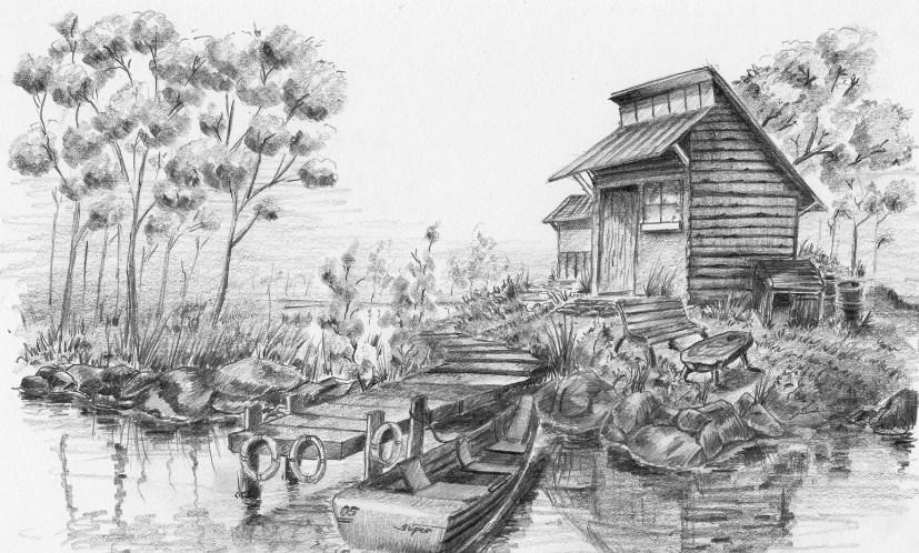 Gambar Sketsa Pemandangan Desa Yang Indah
