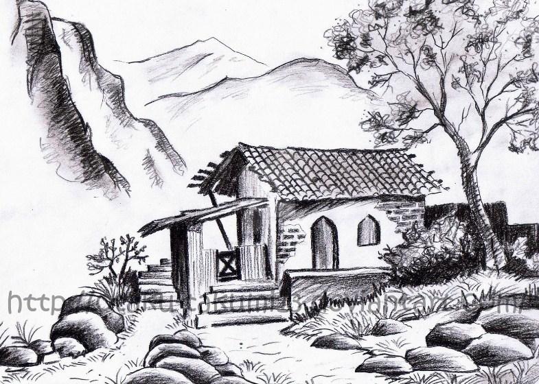 Gambar Sketsa Pemandangan Desa Bingkaigambarcom