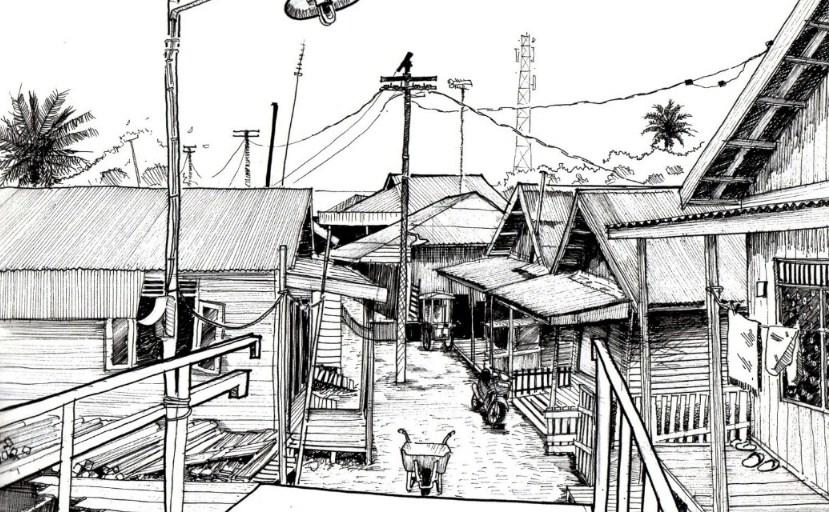 Gambar Sketsa Pemandangan Di Desa
