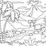 Gambar Sketsa Pemandangan Di Gunung