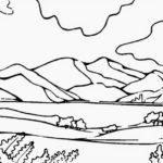 Gambar Sketsa Pemandangan Gunung Dan Pantai