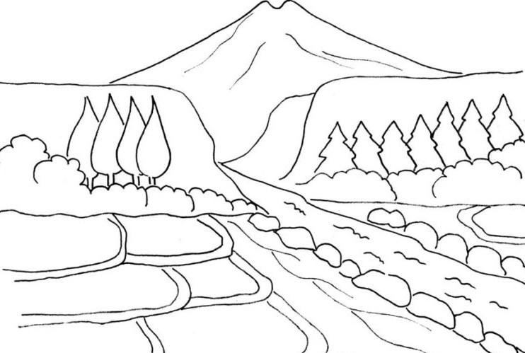 Gambar Sketsa Pemandangan Gunung Dan Sawah