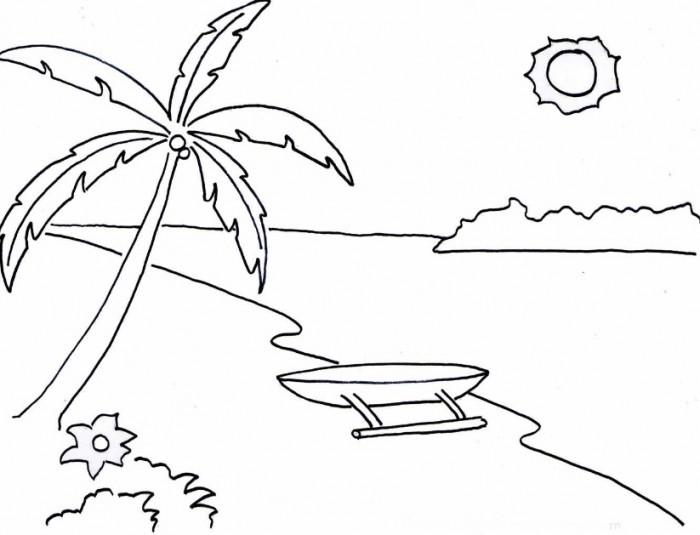 Gambar Sketsa Pemandangan Laut Berwarna
