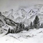 Gambar Sketsa Pemandangan Pegunungan Arsiran
