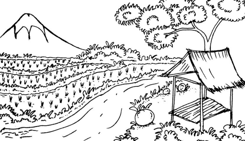 Gambar Sketsa Pemandangan Pegunungan